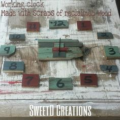 Reclaimed rustic reclaimed wood clock by SweetD Creations