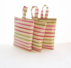 Striped Lavender sachets, Green and pink lavender bags, Scented drawer sachets, Home fragrance, Moth repellent bags, Lavender scent sachets