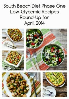 South Beach Diet Phase One Recipes Round-Up for April 2014; this is my monthly collection of all the SBD Phase One Recipes form Kalyn's Kitchen and other sites around the web.  [from Kalyn's Kitchen] #LowGlycemicRecipes  #LowCarbRecipes