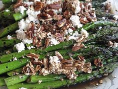 Roasted Balsamic Asparagus with Goat Cheese and Pecans