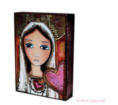 Fatima   ACEO Giclee print mounted on Wood 2.5 x 3.5 por FlorLarios, $10.00