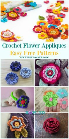 Easy Crochet Flower Appliques Free Patterns for Beginners #Crochet