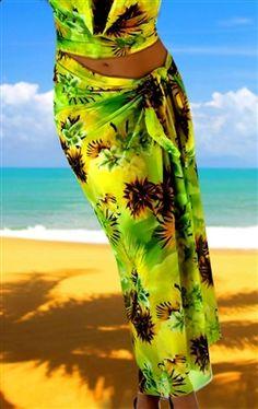 Long Pareo Swimwear Coverup in stretch Hawaiian prints. www.BlondiBeachwear.com