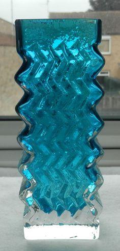 PERFECT Very Rare Whitefriars Kingfisher Blue Art Glass Zig zag Chevron Vase