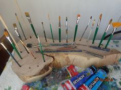 Great and Heavy and Solid Hardwood Paint Brush Stand and Supply Holder Paint Brush Holder Display Art Supplies. $145.00, via Etsy.