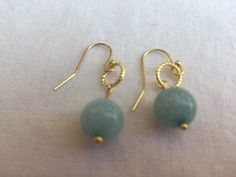 Natural blue aquamarine bead earring on gold filled shepherds hook 1 inch long by MoonBeamsJewels on Etsy
