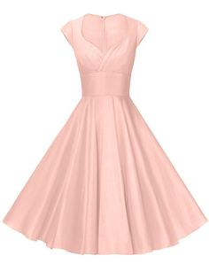 GownTown Womens Dresses Party Dresses Vintage Dresses Swing Stretchy Dresses, Pink, X-Small Vintage 1950s Dresses, Vintage Outfits, Vintage Pink, Vintage Style, Homecoming Dresses, Bridesmaid Dresses, Wedding Dresses, Wedding Attire, Gorgeous Prom Dresses