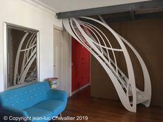 Escalier tout acier aux gardes-corps dissymétriques. Escalier Design, Bunk Beds, Furniture, Home Decor, Modern Interior, Homemade Home Decor, Trundle Bunk Beds, Home Furnishings, Interior Design