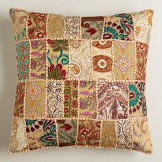 One of my favorite discoveries at WorldMarket.com: Natural Patchwork Throw Pillow