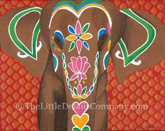 original mixed media art print, The Elephant,  by erin cairney white.. brightly colorful painted Indian elephant
