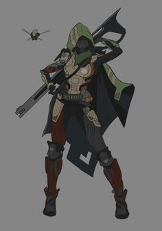 A personal work for my concept art for games portfolio. An original sci-fi character with a slightly cyberpunk samurai feel. I like to make my paintings look less digital and more traditional with the use of custom brushes these days. Destiny Hunter, Destiny Game, Armor Concept, Concept Art, Cyberpunk, Character Concept, Character Art, Destiny Backgrounds, Destiny Bungie