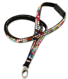 Multicolor Bling Lanyard  Sport your office badge or hospital identification tags on this flashy and fun rhinestone lanyard. You'll stand out in the crowd and bring a little color to your wardrobe.