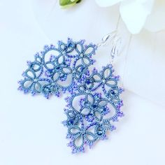 """133 Likes, 3 Comments - Handmade tatting lace jewelry (@bardar_svetlana_lace) on Instagram: """"A little bit more photo and video of my grey/purple earrings for your understanding of how they…"""""""