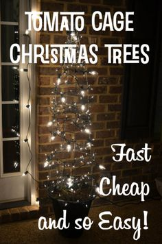 Tomato Cage Christmas Trees: Fast, Cheap and Easy! Great idea especially if you all ready have the cages. I like the big and small lights. Outdoor Christmas, Winter Christmas, Christmas Lights, Christmas Trees, Cheap Christmas, Christmas 2019, Tomato Cage Crafts, Tomato Cages, Christmas Time Is Here