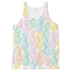 Multi color pineapple pattern All-Over print tank top