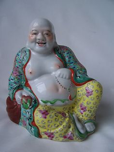 old signed marked chinese porcelain buddha pottery famille rose republic c Chinese Babies, Yard Sale Finds, Asian Design, Old Signs, Thrift, Laughing, Porcelain, Pottery, Japan