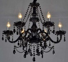 Black Chandelier DIY -- but all white to hang above the altar. I can totally make this myself.