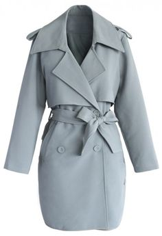 Smoky Blue Double Breasted Trench Coat