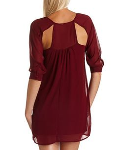 Cutout Back Shift Dress in burgundy <3 Get 10% off with promo code STURATE13