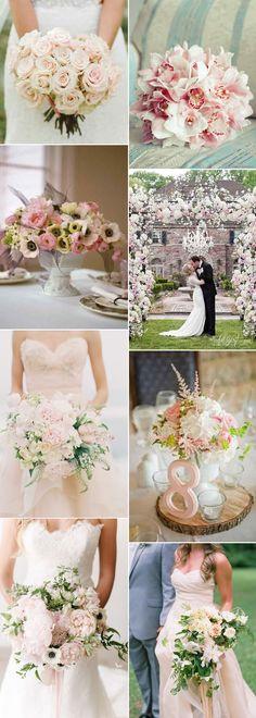 Pretty blush wedding flowers on GS Inspiration - Glitzy Secrets
