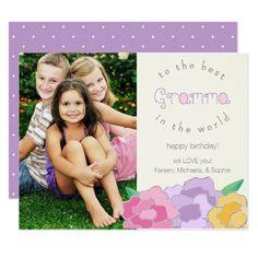 Precious Florals Happy Birthday Gramma Photo Card