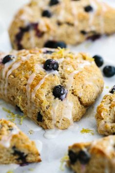 Whole Wheat Blueberry Scone with Lemon Glaze - Each crumbly pastry is packed with ripe fruit and yogurt for a delicious morning recipe. | jessicagavin.com