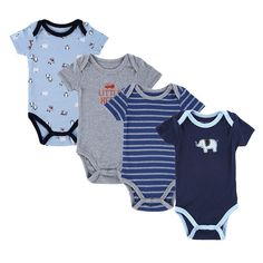 4PCS Baby Brand Boy Girl Bodysuits Short Sleeve Striped Style Newborn Clothes Bodysuits & One-Pieces Baby Clothig Color Blue
