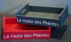 """Plateau cagette en bois(pin) 27.5x18.5x5cm """"la Routes des Phares"""""""