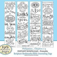 PHILIPPIANS Bible Journaling Templates Tracers Color Your Own Bookmarks INSTANT Download Pdf And
