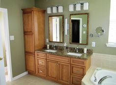 Master bath ideas- move our tall cabinet over to the vanity area?