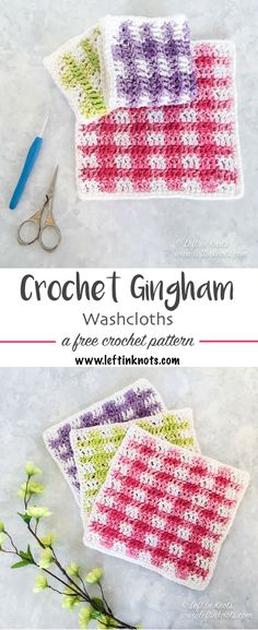 A modern, free crochet pattern perfect for updating your spring decor! I made the Spring Gingham Dishcloths in pink, green and purple, but really you can make any color combo you want using basic worsted weight cotton yarn. You can also use these as a trendy DIY washcloth.