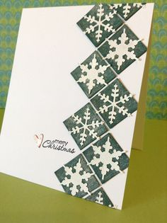 handmade Christmas card from Creativity by Lynn ... column of green inchies covered with shimmery powder  and topped by punched snowflakes ... chevron pattern ...  luv the look!!