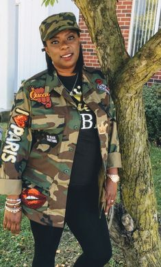 $75 Army fatigue Jacket w/ Sequins Patches