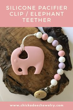 baby girl pacifier clips, elephant teether, baby shower gift ideas