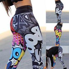 f6fd1e1a1552 Women s Fashion 3D Printed Yoga Pants Leggings Sport GYM Running Skinny  Workout Legging Pencil Pants Cartoon