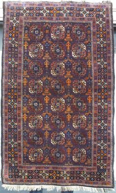 "Persian Baluch Rug, ""Zabol"" Baluch with Turkmen ""Guls""; Northeast Persia; Late 19th century; 3-5 x 5-7 f.t"