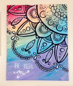 Orginial Acrylic Paintings // Mandala // Rainbow // Be Here Now // Canvas by AbraKayDabra on Etsy