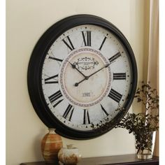 Large Round Wooden Wall Clock By Collections Etc