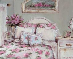 Original Whimsical Painting -  The Shabby Chic Bedroom  - Postage is included