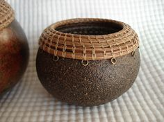 Small Gourd Art Bowl with woven Pine Needle by TheGreenDragonGifts, $23.00