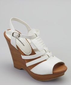Another great find on #zulily! White Rosa Wedge Sandal by Janice #zulilyfinds