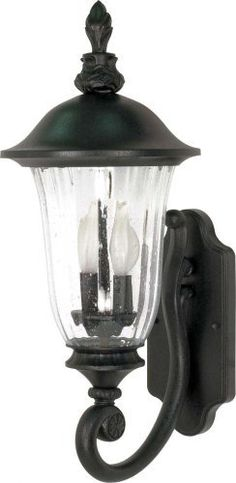 Nuvo 60/976 Textured Arm Up, Wall Lantern with Fluted Seed Glass, Textured Black, Small by Nuvo. $80.99. Textured black small, arm up, wall lantern with fluted seed glass. (2) 60-Watt type B candelabra base bulbs not included.