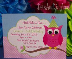 Owl Invitation  Printable Owl Birthday Owl Party by DotsAndGingham,