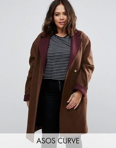 ASOS CURVE Coat with Contrast Collar and Cuff