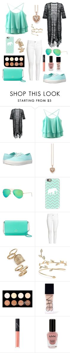 """""""Summer blues"""" by color-lover123 ❤ liked on Polyvore featuring Guild Prime, Vans, Thomas Sabo, Ray-Ban, Casetify, Kate Spade, H&M, Topshop, NYX and NARS Cosmetics"""