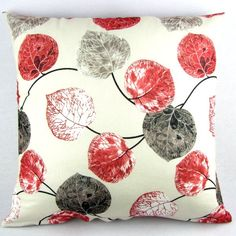 red and grey leaves pillow