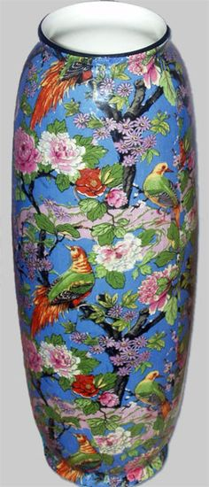 """1930's Crown Ducal """"Blue"""" Chintz 9.5"""" Vase. A cyclinderal earthenware vase with an all over """"Blue Chintz"""" transfer pattern with a black trim. Manufacturered by A.G Richardson under the trademark Crown Ducal in the early 1930's."""
