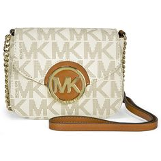 Open Box - Michael Kors Fulton Small Crossbody Bag - Vanilla ($89) ❤ liked on Polyvore featuring bags, handbags, shoulder bags, white handbags, white crossbody, white cross body purse, white purse and crossbody shoulder bags