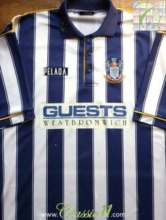 Relive West Bromwich Albion's season with this vintage Pelada home football shirt. Classic Football Shirts, Vintage Football Shirts, West Bromwich Albion Fc, Nfl Jerseys, Colorful Shirts, The Past, Blue And White, Boys, Store