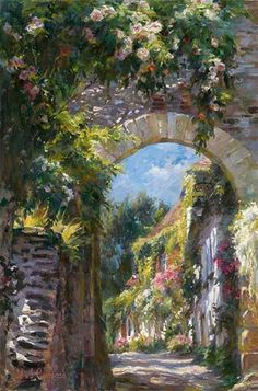 Old Town by Michael and Inessa Garmash, a limited edition available from J Watson Fine Art 661 your source for Garmash art. Impressionist Paintings, Landscape Paintings, Landscapes, Great Paintings, Original Paintings, Oil Paintings, Original Art, Garden Painting, Oil Painting Abstract